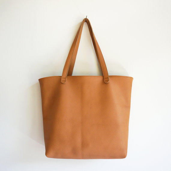 Marissa Camel Leather Shopper Tote