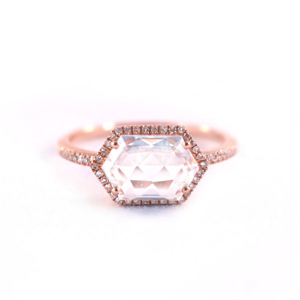 White Topaz + Diamond Rose Gold Ring