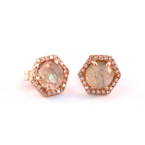 Labradorite & Diamond Hexagon Earrings