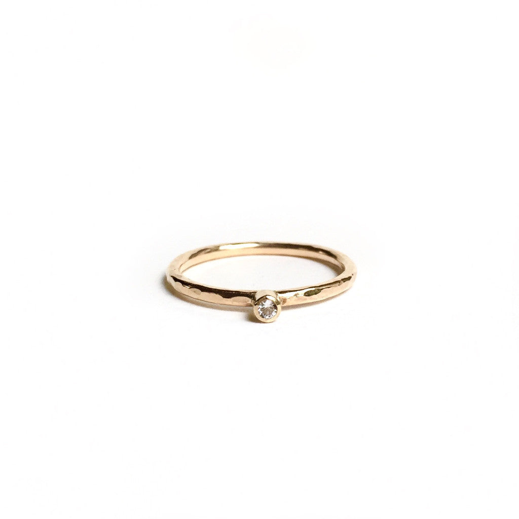 White Topaz + Gold Ring