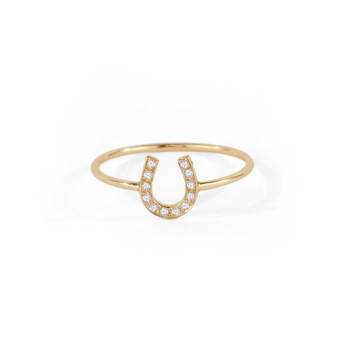 Tiny Horseshoe Diamond Ring