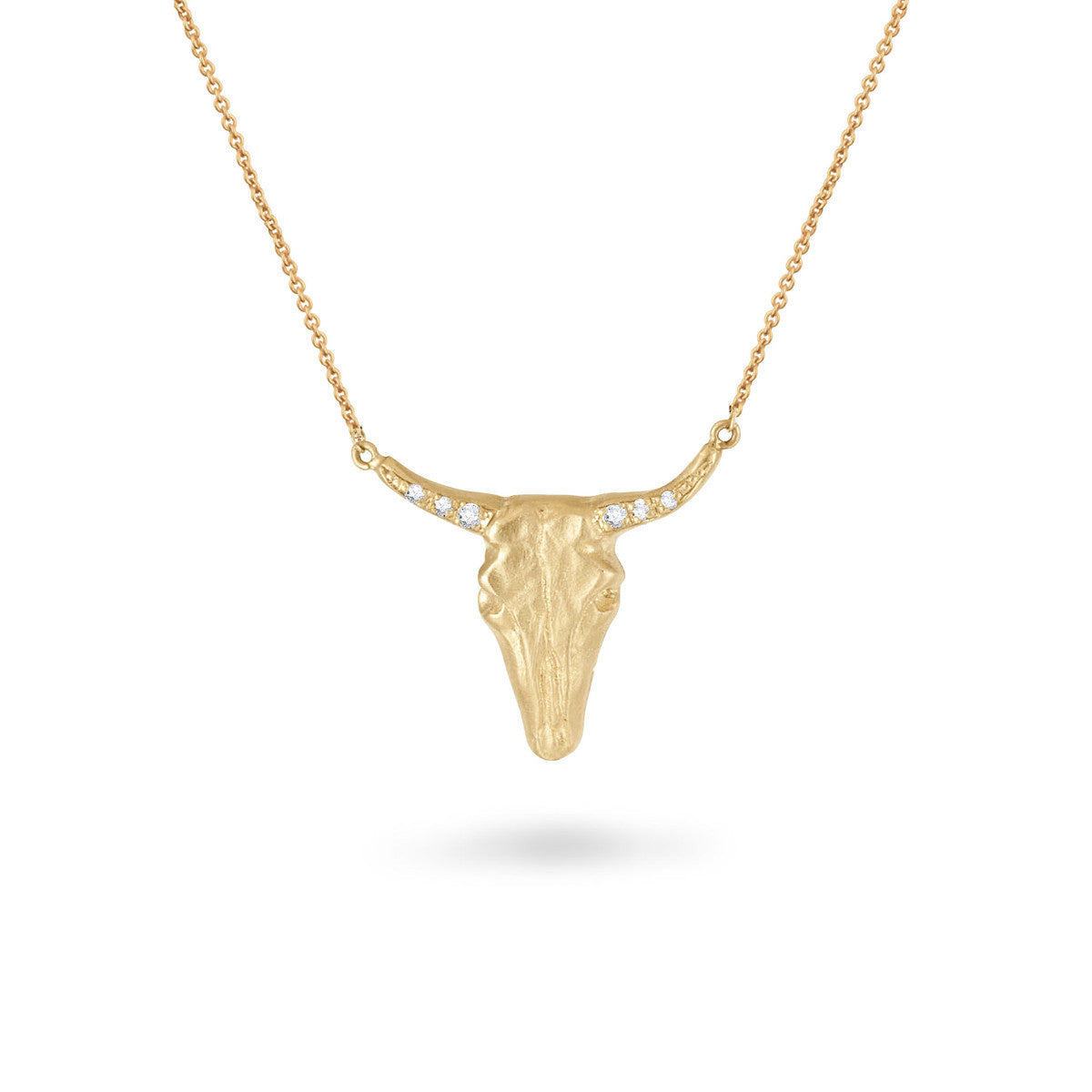 Large Bull Head Diamond Necklace