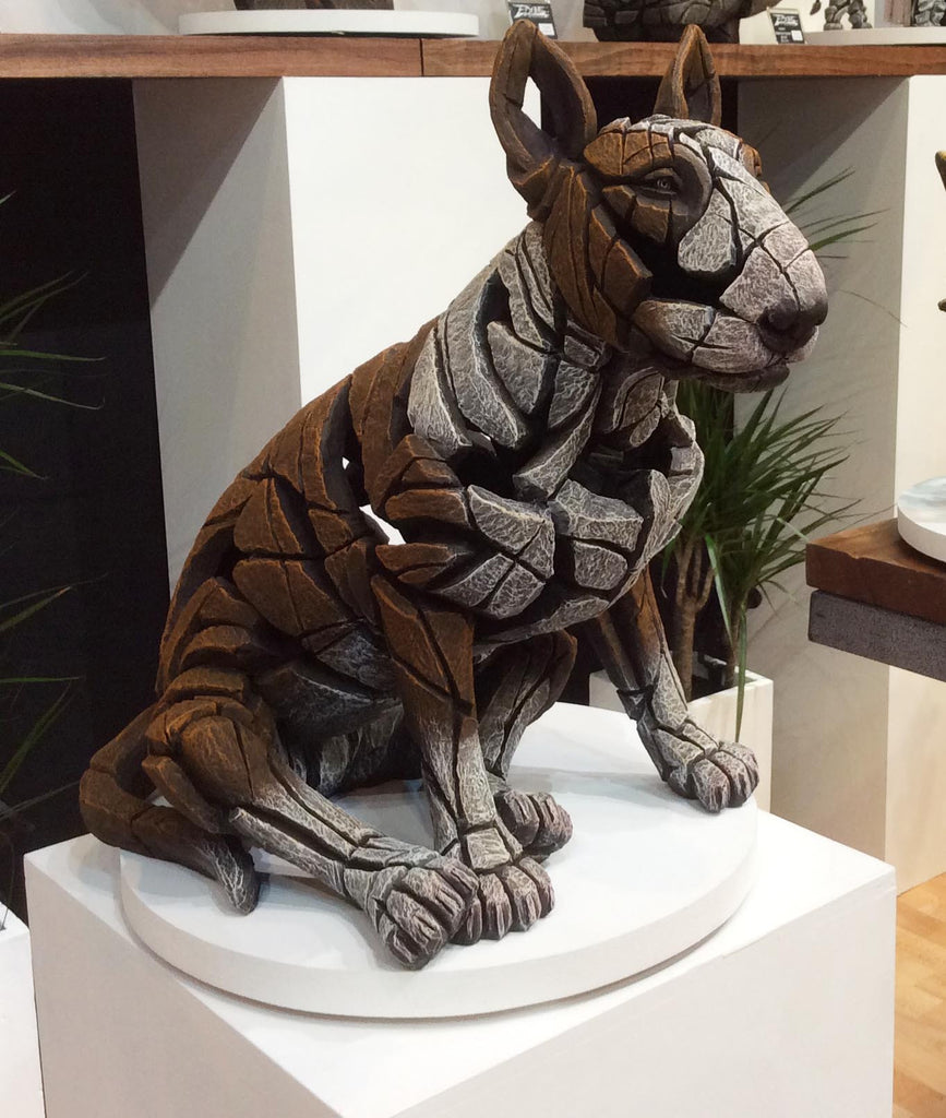 Edge sculpture bull terrier red and white