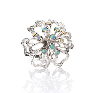 1.01ct Crystal Opal & Diamond Ring