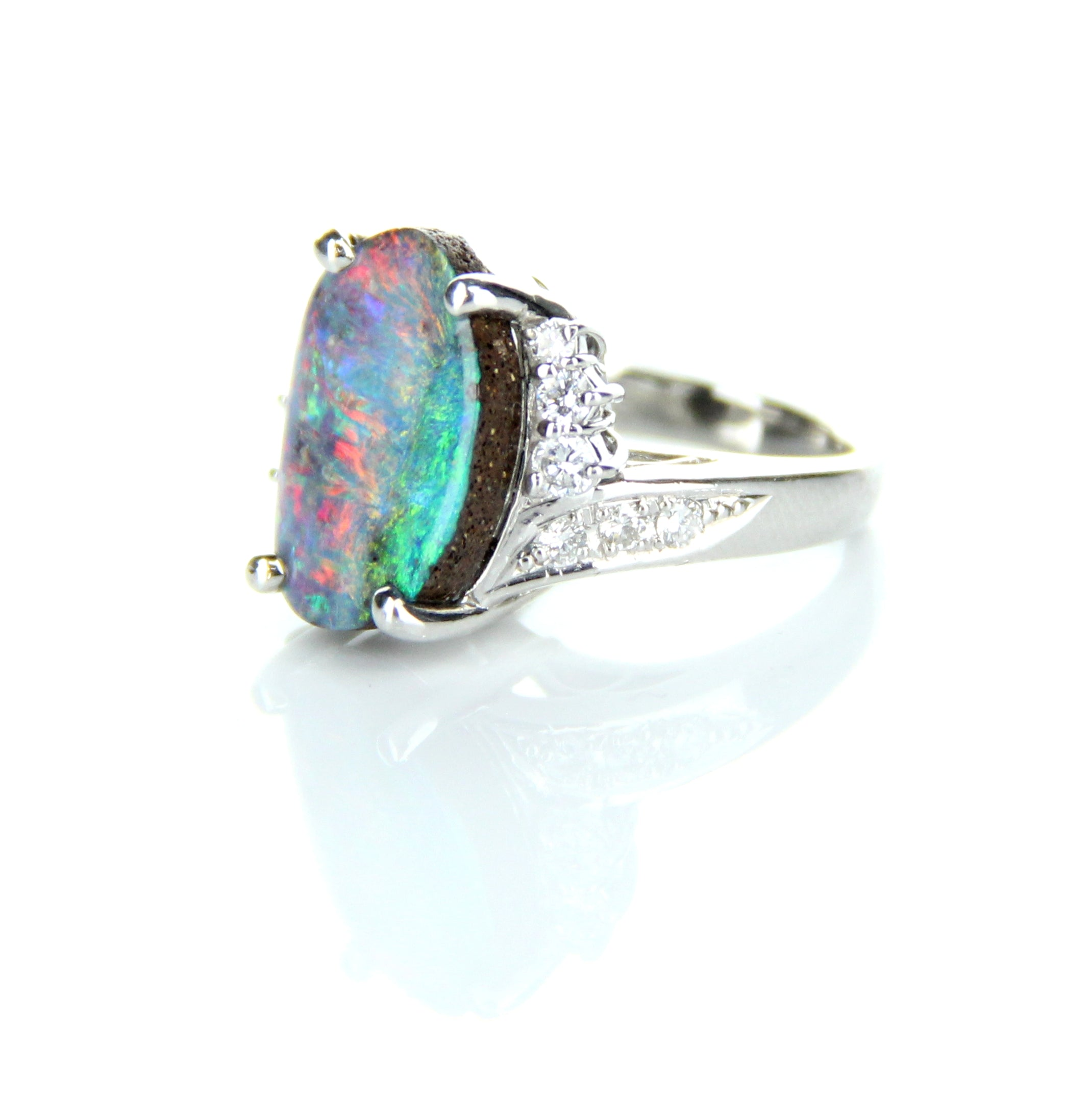 Boulder Opal & Diamond Ring