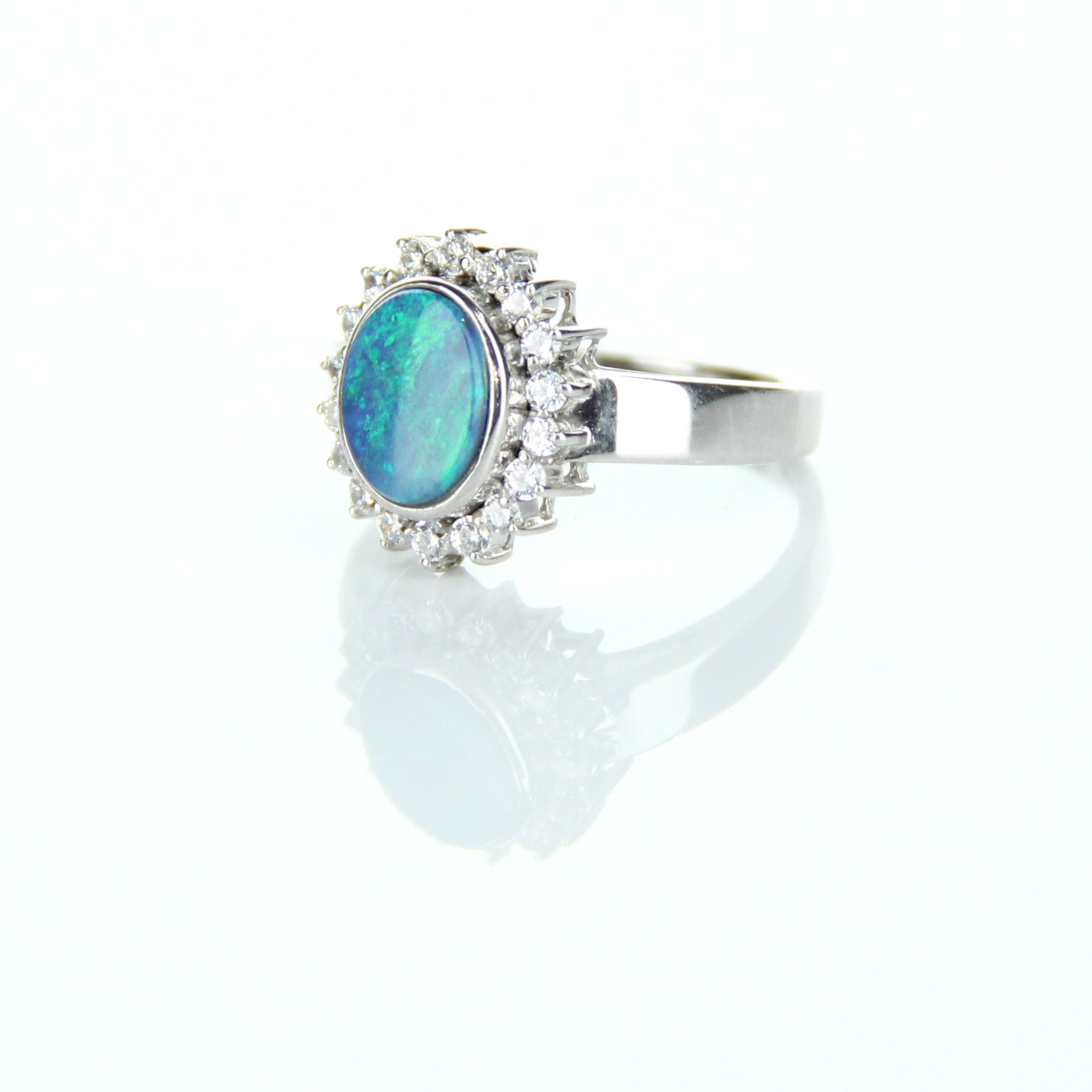 Doublet Opal & Crystal Ring