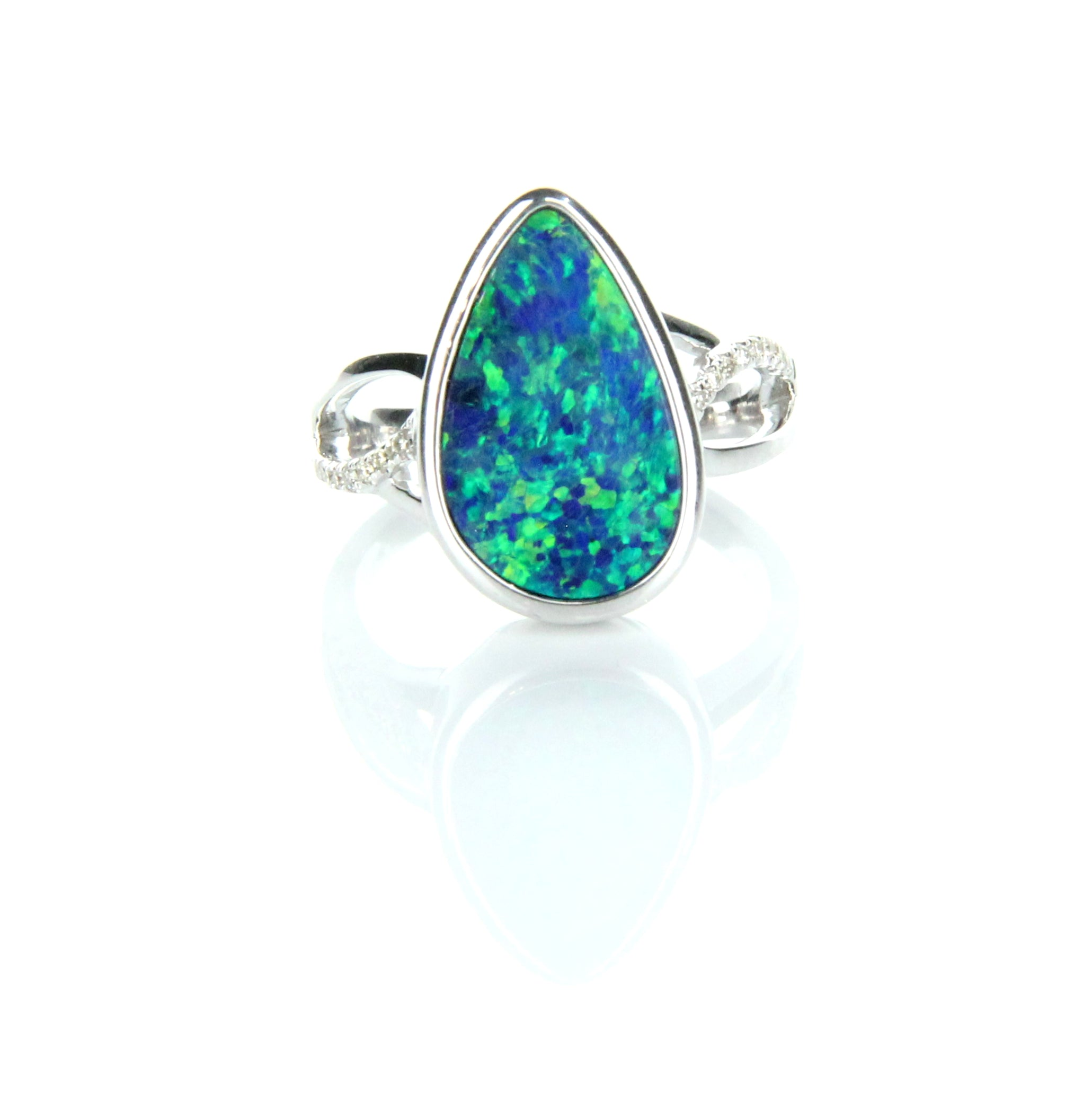 Doublet Opal & Diamond Ring