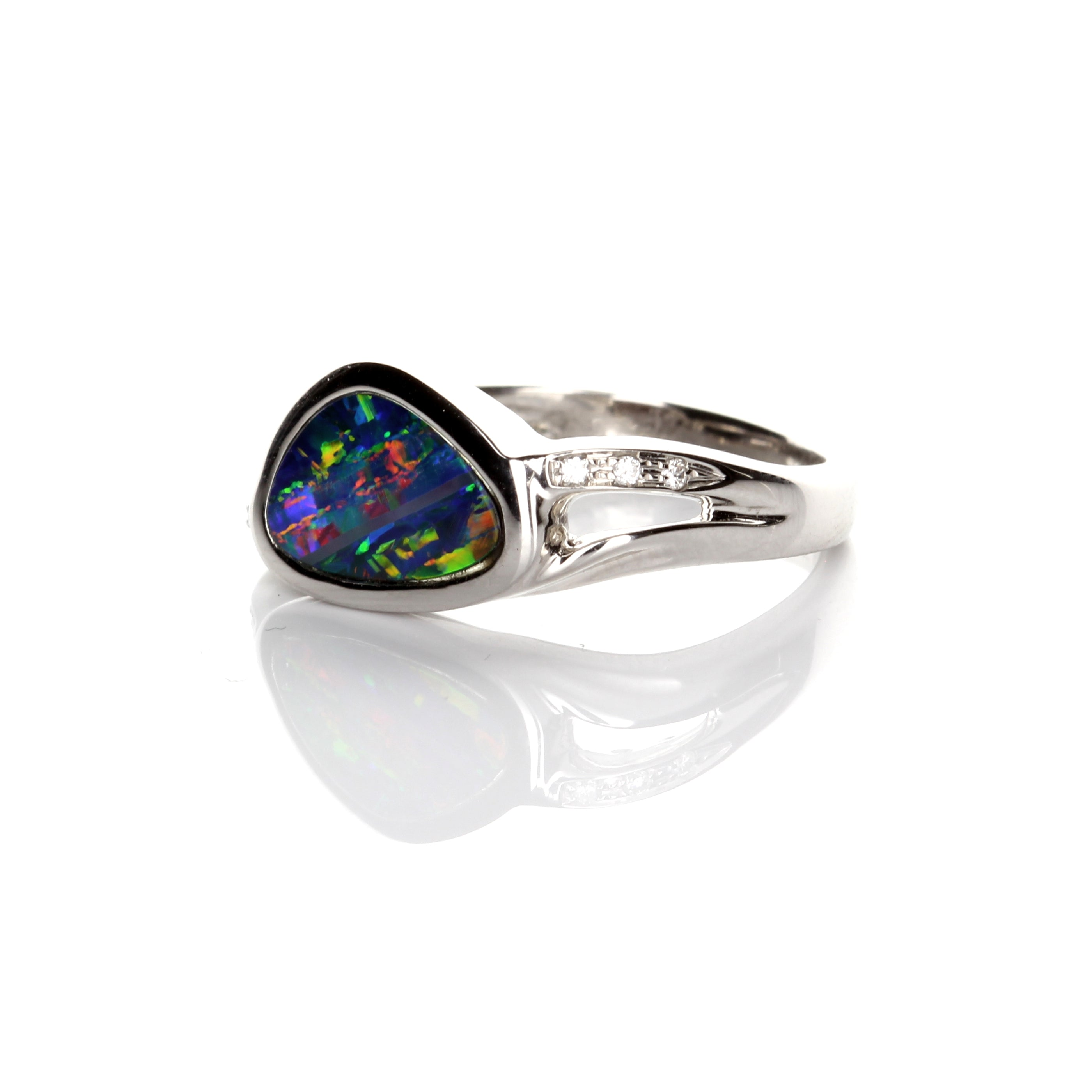 1.23ct Doublet Opal & Diamond Ring