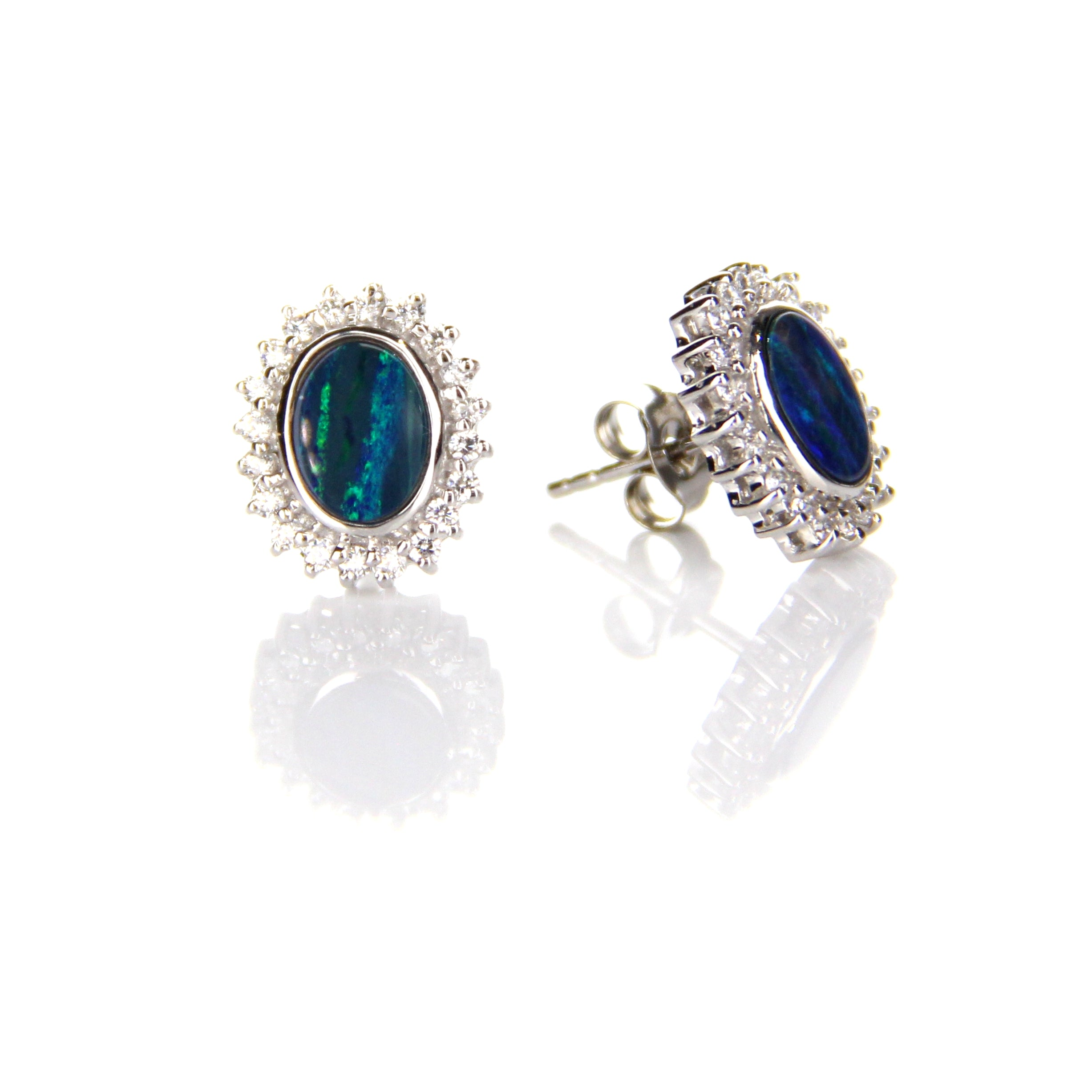 1.27ct Doublet Opal & Crystal Earrings