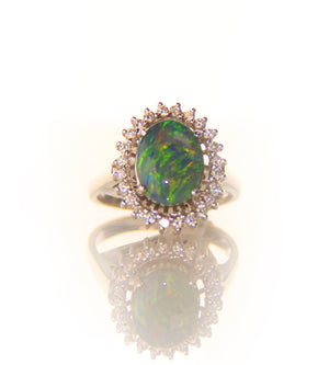 Black Opal Engagement Ring w/Diamond Halo