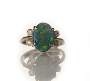 1.95ct Black Opal Ring w/Diamonds