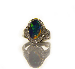 Black Opal & Diamond Engagement Ring