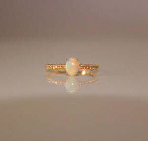 0.57ct Crystal Opal Ring w/Diamonds