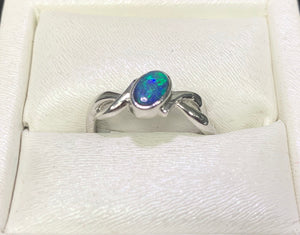 Doublet Opal Sterling Silver Ring