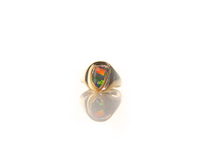 Men's Boulder Opal Signet Ring
