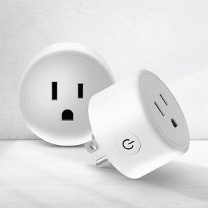 Two round white smart plugs UK style