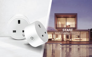 Two round smart plugs on the left with smart apartment by pool on the right