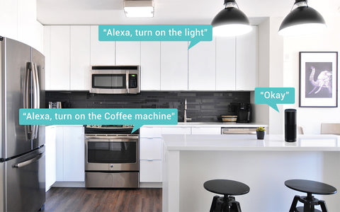 Home kitchen with labels from Alexa