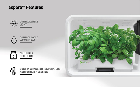 Aspara Nature smart grower device with features listed