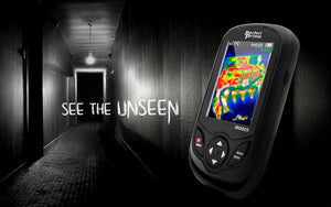 ghost hunting hallway with thermal camera