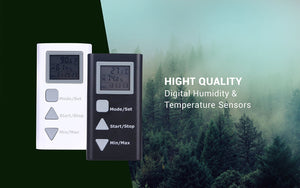 Black and White humidity and temperature loggers with forest background