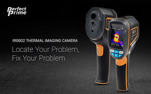 PerfectPrime Ir0002 thermal camera banner with message locate your problem, fix your problem