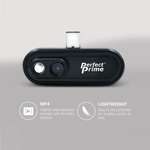 PerfectPrime IR0102 thermal imaging camera highlighting MP4 and Lightweight icons