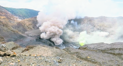 Active smoke coming from volcano hole