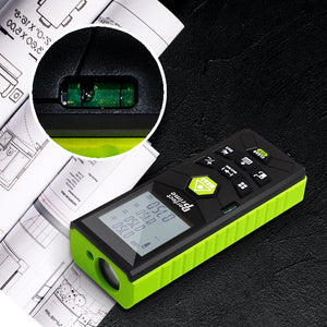PerfectPrime RF0370 laser distance meter showing balance bubble