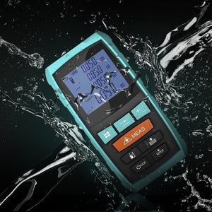 PErfectPrime RF0660 light blue laser distance meter with water poured on it