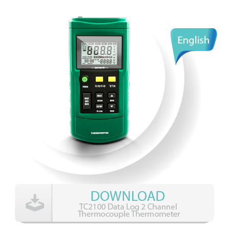 TC2100 Data Log 2 Channel Thermocouple Thermometer manual