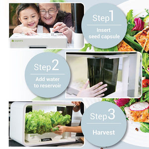 3 hydroponic photos with hands gesturing how to use