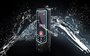 PerfectPrime R2 laser distance meter with water thrown at it