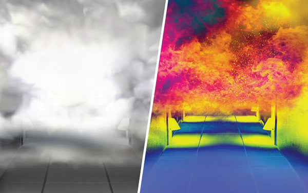 image on left showing smoke filled corridor, thermal image on the right revealing fire