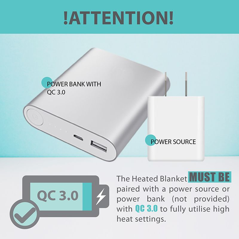 Perfect Prime Heated blanket Power bank notice