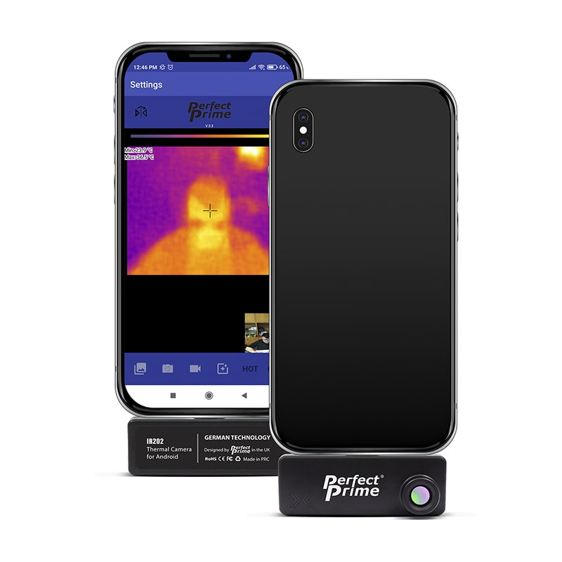 IR202 front and back view with phone