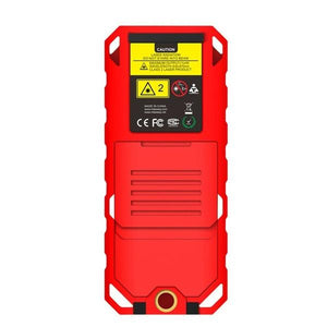Laser Distance Digital Diastimeter Electronic Bubble Levels Water & Dust proof, Red Device, Back View