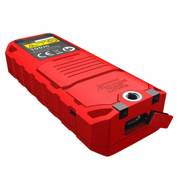 Laser Distance Digital Diastimeter Electronic Bubble Levels Water & Dust proof, Red Device, Bottom View