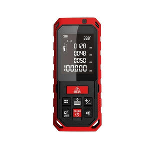 Laser Distance Digital Diastimeter Electronic Bubble Levels Water & Dust proof, Red Device, Front View