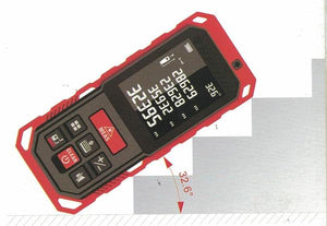Laser Distance Digital Diastimeter Electronic Bubble Levels Water & Dust proof, Red Device, Tilt View