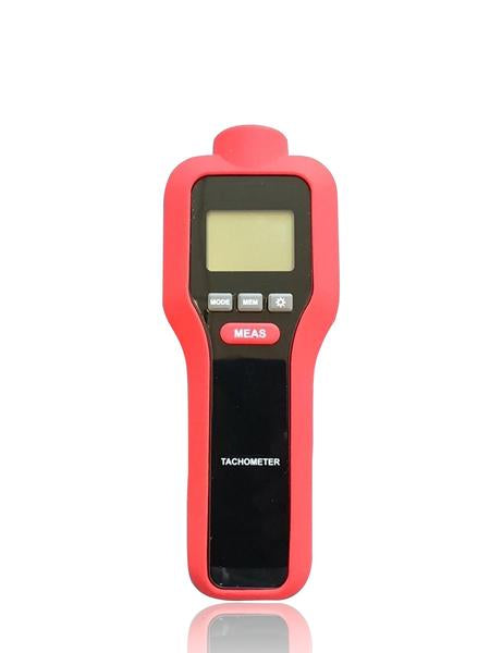 Contact Non Contact Digital LCD Laser Photo Tachometer, Red Device, Front Screen View