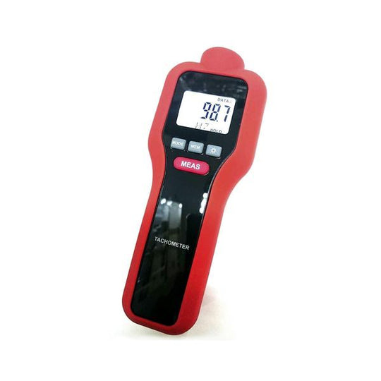 Contact Non Contact Digital LCD Laser Photo Tachometer, Red Device, Front View