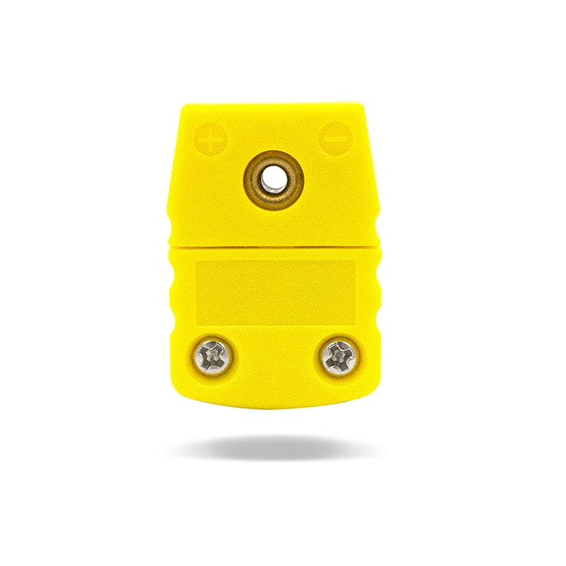 K-Type Female Flat Connector, Yellow Device, Flat View