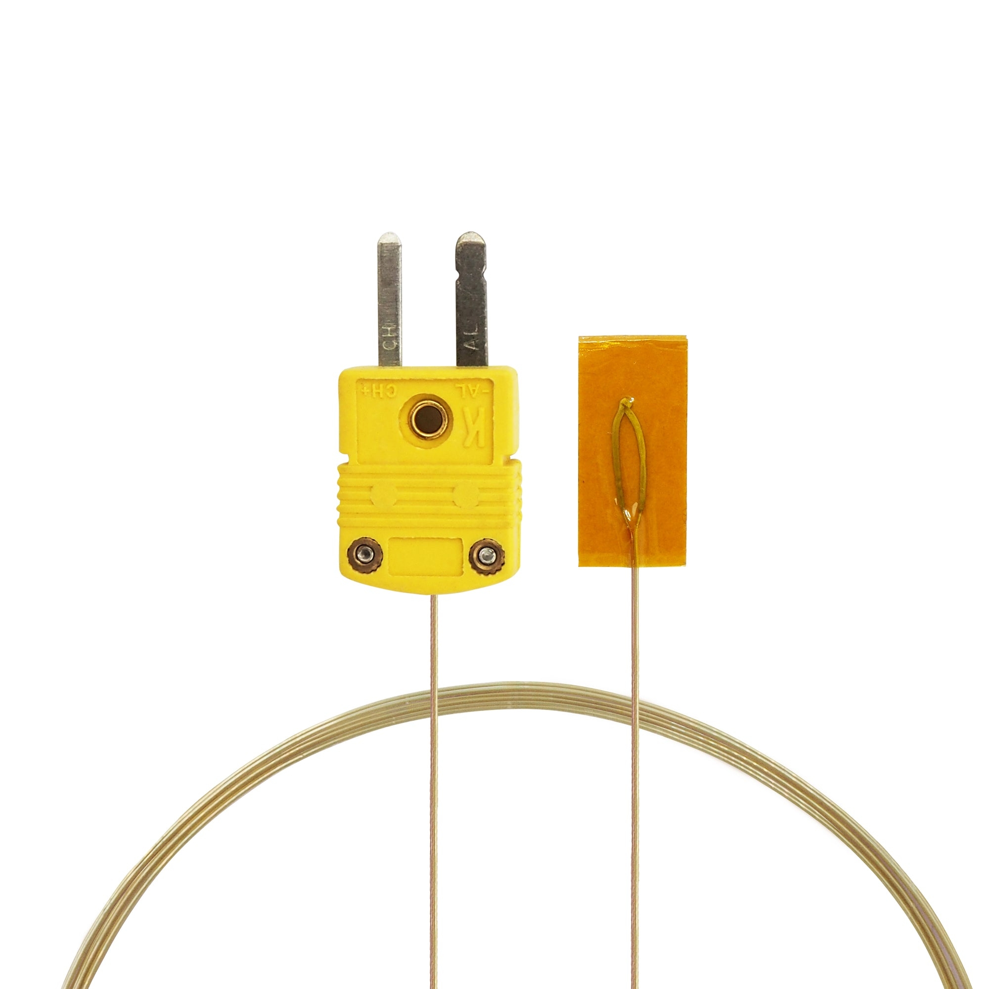 Surface Contact 0.25 mm diameter K-Type Sensor Probe with Sticker for K-Type Thermocouple, Yellow Cable, Main