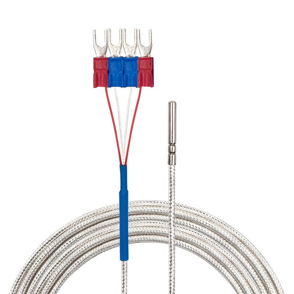 4 Wires Class A Temperature Sensor, White Cable, Flat View