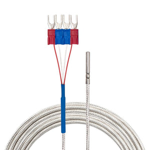 4 Wires Class A Temperature Sensor -200~200°C / -328~392°F, White Cable, Flat View