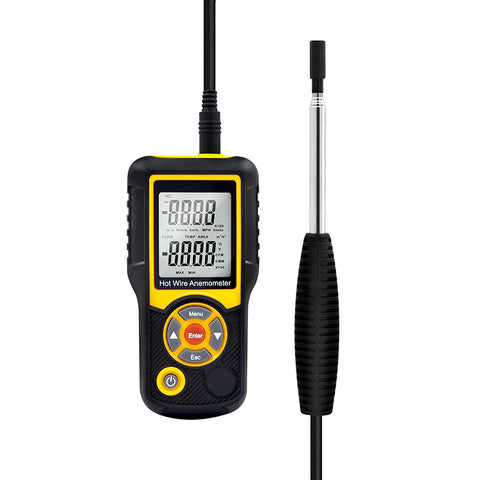 Precise Sensitive Hotwire Thermal Anemometer Probe, black and yellow Device, Front View with wire