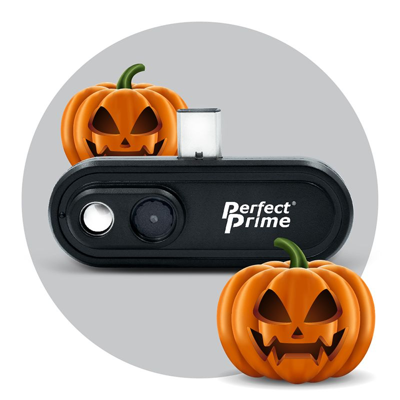 PerfectPrime IR0102 thermal camera with two pumpkins