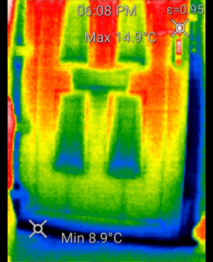 Door in thermal camera shows temperature differences in colors