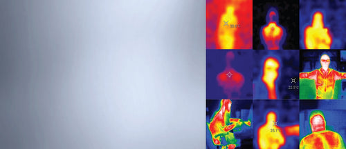 9 thermal images with a grey background